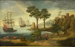Huge 18th Century French Marine Oil Painting British & Dutch Ships in Port