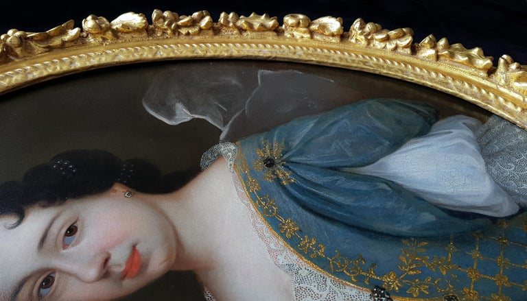 Portrait of a Lady, Fine Carved Period Frame - Painting by (circle of) François de Troy