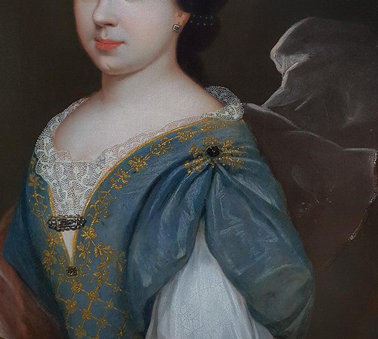 Portrait of a Lady, Fine Carved Period Frame - Black Portrait Painting by (circle of) François de Troy