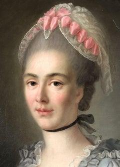 Follower of Hubert DROUAIS. Portrait of a lady. Oil on canvas.