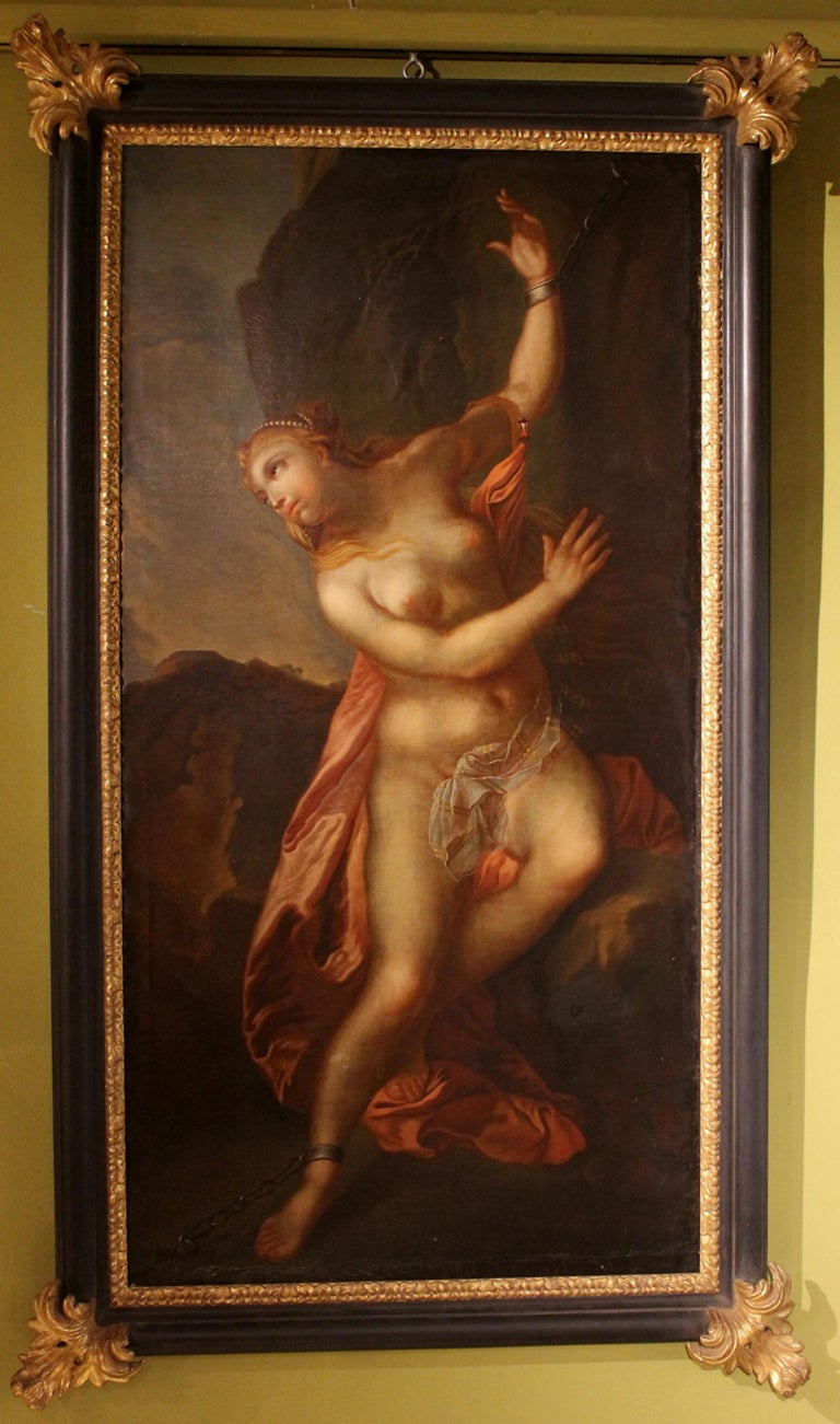 French 18th Century Oil On Canvas Painting Nude Woman Andromeda For Sale 3