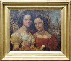 Portrait of Two Pottinger Sisters in Landscape - British 18thC art oil painting