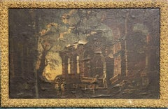 1700'S ITALIAN OLD MASTER OIL PAINTING FIGURES IN CLASSICAL RUINS LANDSCAPE