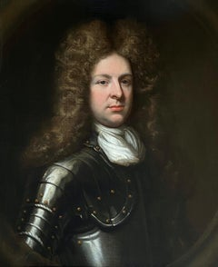17th English Old Master Oil Portrait of a Young Gentleman in Armour circa 1690.