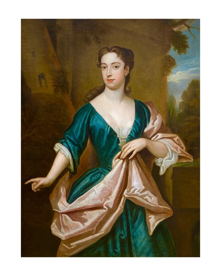 EARLY 18TH CENTURY ENGLISH PORTRAIT OF A LADY - CIRCLE OF SIR GODFREY KNELLER. For Sale 5