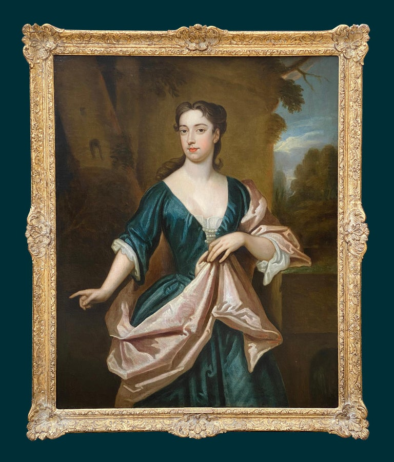 EARLY 18TH CENTURY ENGLISH PORTRAIT OF A LADY - CIRCLE OF SIR GODFREY KNELLER. For Sale 6