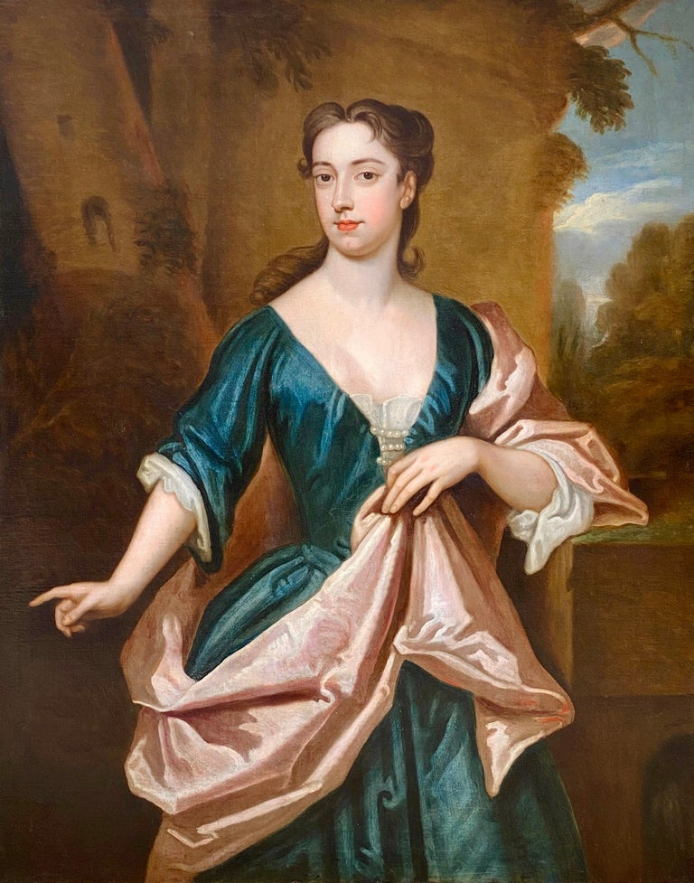 EARLY 18TH CENTURY ENGLISH PORTRAIT OF A LADY - CIRCLE OF SIR GODFREY KNELLER. - Painting by (Circle of) Godfrey Kneller