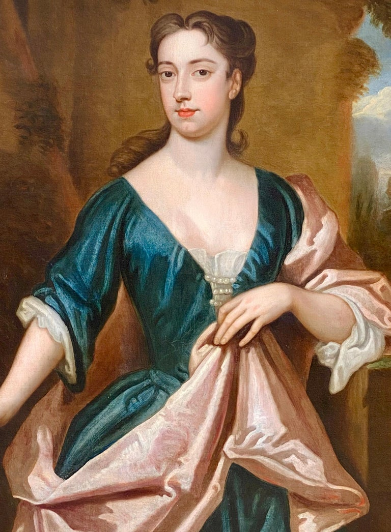 EARLY 18TH CENTURY ENGLISH PORTRAIT OF A LADY - CIRCLE OF SIR GODFREY KNELLER. - Old Masters Painting by (Circle of) Godfrey Kneller