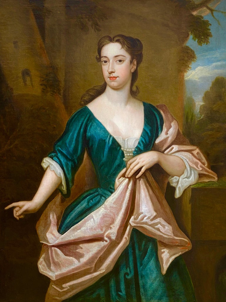 EARLY 18TH CENTURY ENGLISH PORTRAIT OF A LADY - CIRCLE OF SIR GODFREY KNELLER. For Sale 1