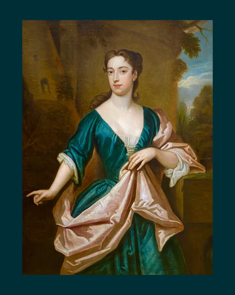 EARLY 18TH CENTURY ENGLISH PORTRAIT OF A LADY - CIRCLE OF SIR GODFREY KNELLER. For Sale 2