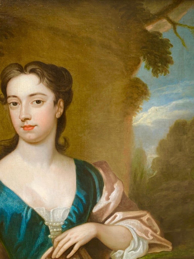 EARLY 18TH CENTURY ENGLISH PORTRAIT OF A LADY - CIRCLE OF SIR GODFREY KNELLER. For Sale 3