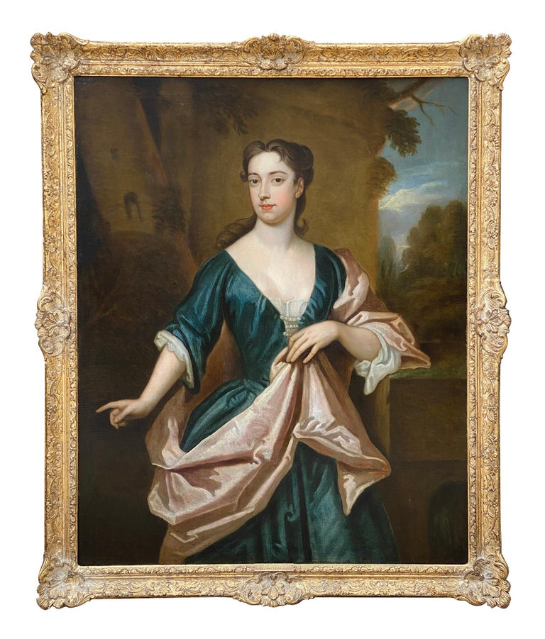 (Circle of) Godfrey Kneller Portrait Painting - EARLY 18TH CENTURY ENGLISH PORTRAIT OF A LADY - CIRCLE OF SIR GODFREY KNELLER.