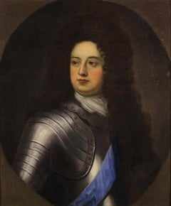 Fine 17th Century Oil Painting Portrait Duke of Marlborough in Suit of Armour