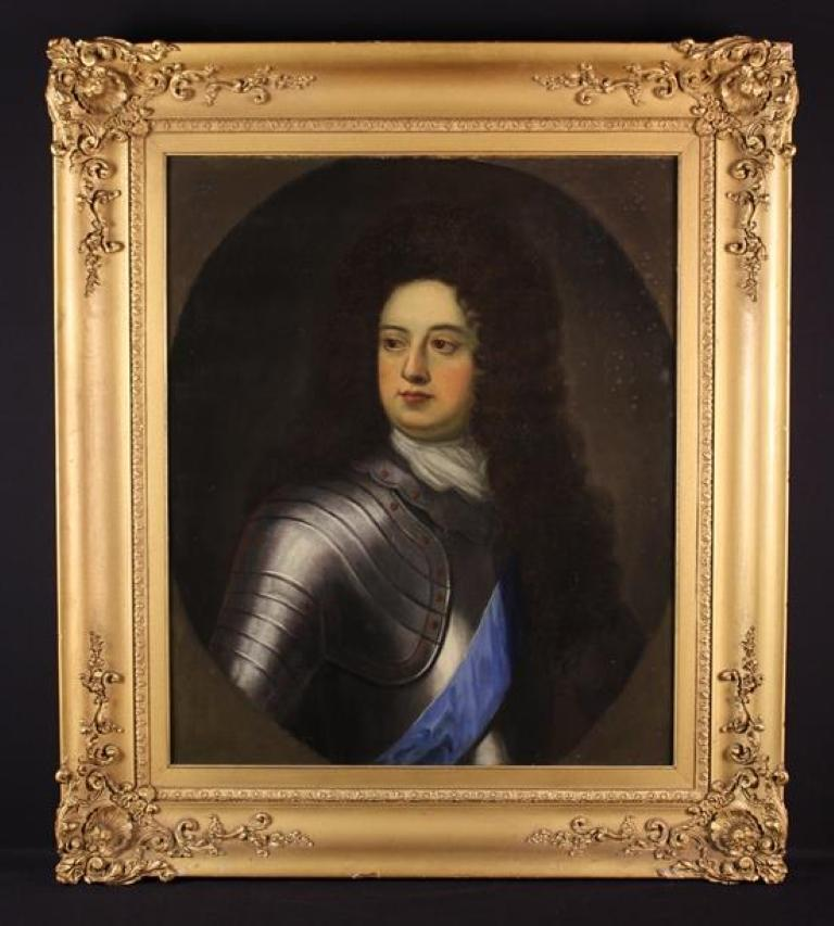 Fine 17th Century Oil Painting Portrait of a Wigged Gentleman in Suit of Armour
