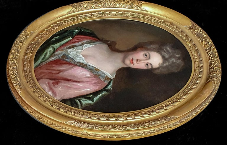 Portrait of a Lady in a Pink Dress and Green Wrap c.1695, Antique Oil Painting - Brown Portrait Painting by (Circle of) Godfrey Kneller