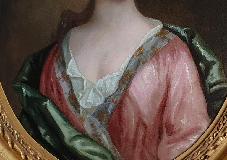 Portrait of a Lady in a Pink Dress and Green Wrap c.1695, Antique Oil Painting For Sale 1