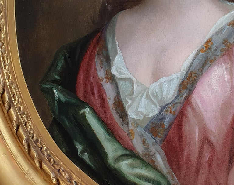 Portrait of a Lady in a Pink Dress and Green Wrap c.1695, Antique Oil Painting For Sale 2