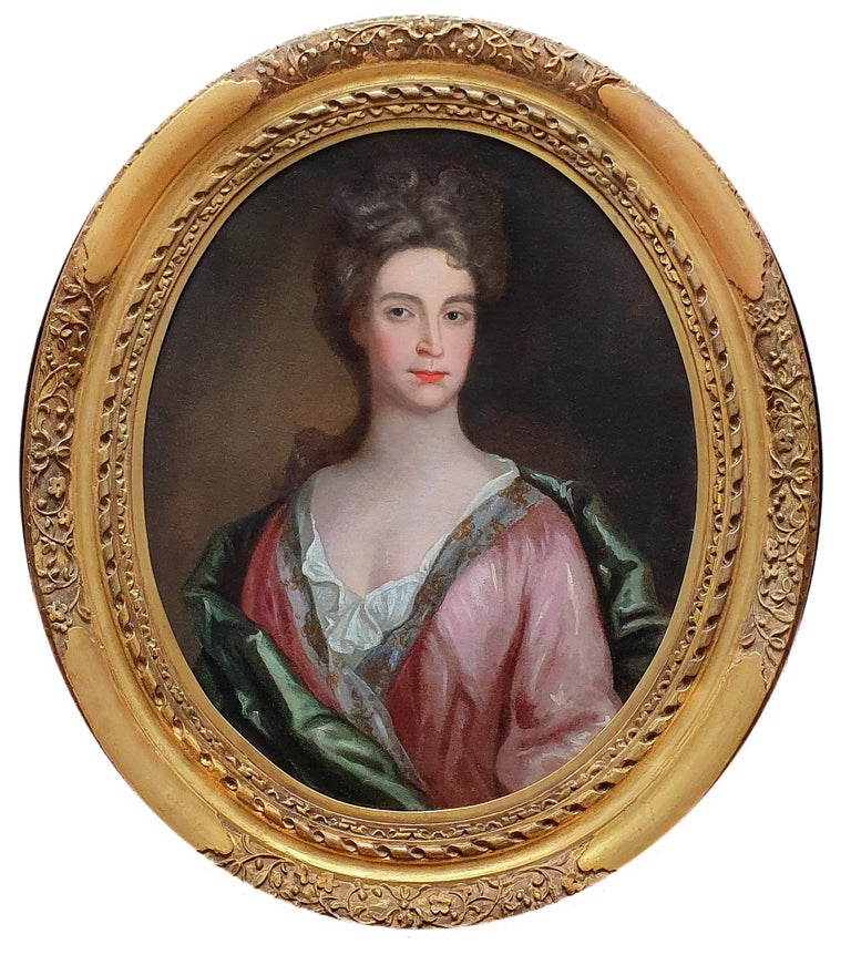 (Circle of) Godfrey Kneller Portrait Painting - Portrait of a Lady in a Pink Dress and Green Wrap c.1695, Antique Oil Painting
