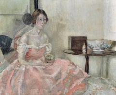 The Lady in the Pink Dress, Fine English Impressionist Oil Painting