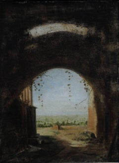 Italian Arch - Old Master British Italian landscape and ruins through arch