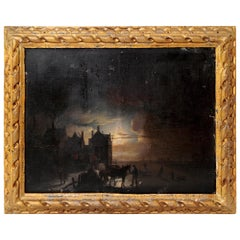"""Circle of Jacobus Theodorus Ables, """"A Winter's Night"""" Oil on Panel"""