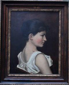 Portrait of a Lady - British art 1900 Impressionist oil painting female portrait