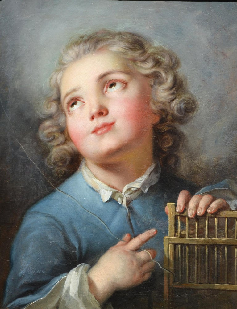 (Circle of) Jean Baptiste Greuze Portrait Painting - Portrait of a Young Boy with Birdcage