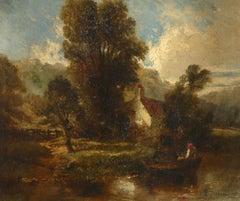 Antique Original English Oil Painting River Landscape with Cottage, Figure Boat