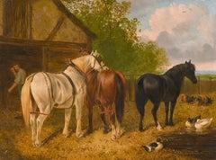 VICTORIAN OIL - HORSES DUCKS & PIGS RURAL FARMYARD SCENE ENGLISH LANDSCAPE
