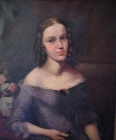 Portrait Of A Lady, 19th Century-  old master,oil portrait painting,carpenter