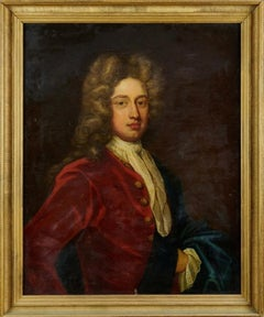 Fine 1700's English School Oil Portrait of a Nobleman in Wig & Red Coat