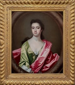 Portrait of a Lady in a Green Dress c.1710 Antique Oil Painting; Michael Dahl