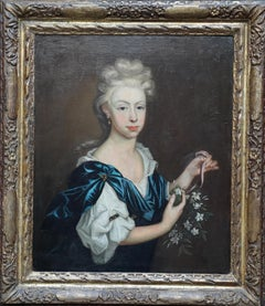 Portrait of a Lady with Garland of Flowers - British art Old Master oil painting