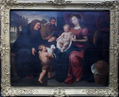 Saint Elizabeth with Virgin Mary - Religious 17thC art Old Master oil painting