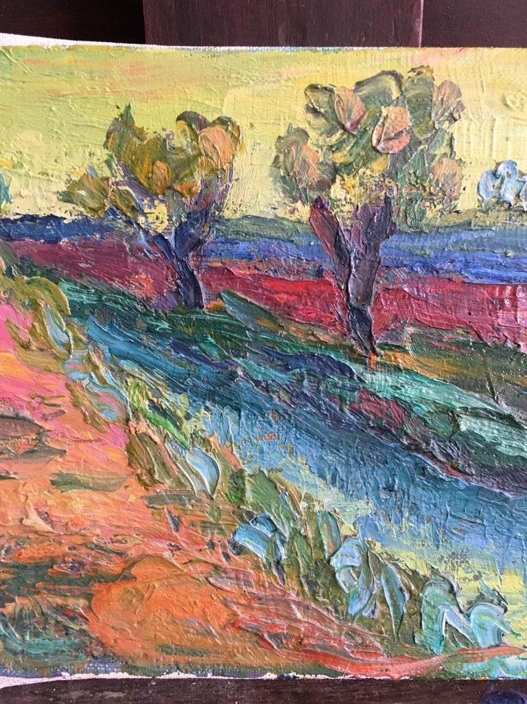 Expressionist French Landscape, Bright Colours, Oil Painting - Gray Landscape Painting by (circle of) Pierre Ambrogiani