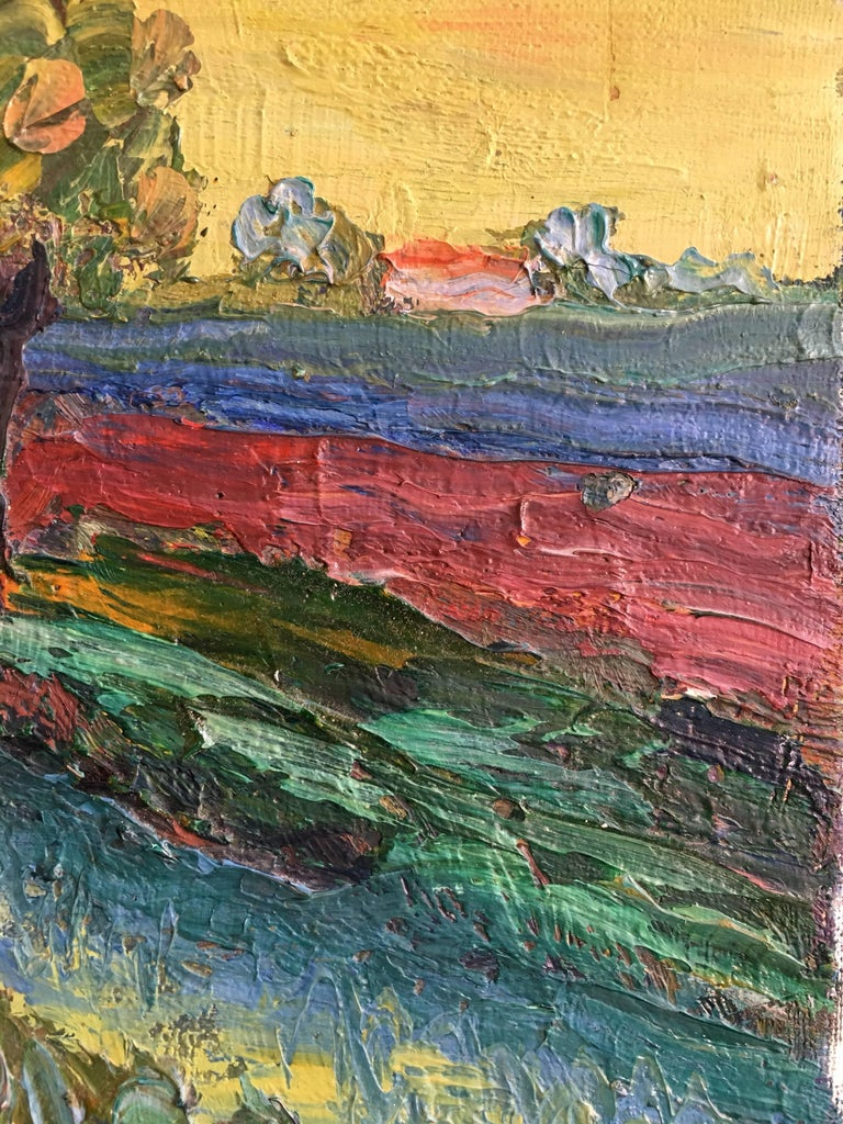Expressionist French Landscape, Bright Colours, Oil Painting For Sale 1