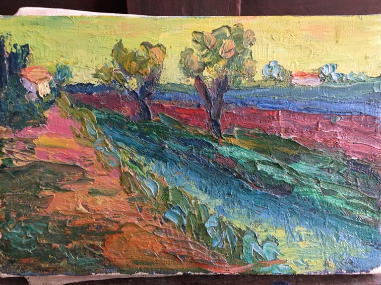 Expressionist French Landscape, Bright Colours, Oil Painting For Sale 2