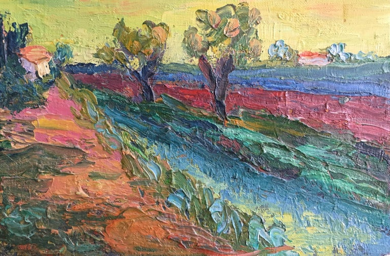 (circle of) Pierre Ambrogiani  Landscape Painting - Expressionist French Landscape, Bright Colours, Oil Painting