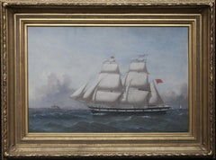 Sailship in Full Rig - British Victorian nautical seascape marine oil painting