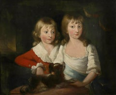 Fine 18th Century British Oil Painting Portrait of Two Children with Spaniel Dog