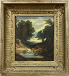 18th Century English Oil Painting Cattle Watering from Woodland Pool at Dusk