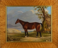 Early 19th Century horse portrait oil painting of a Bay hunter in a landscape