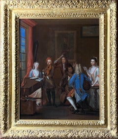 18th Century English Oil on Canvas Musical Conversation Piece  - 'The Concert'