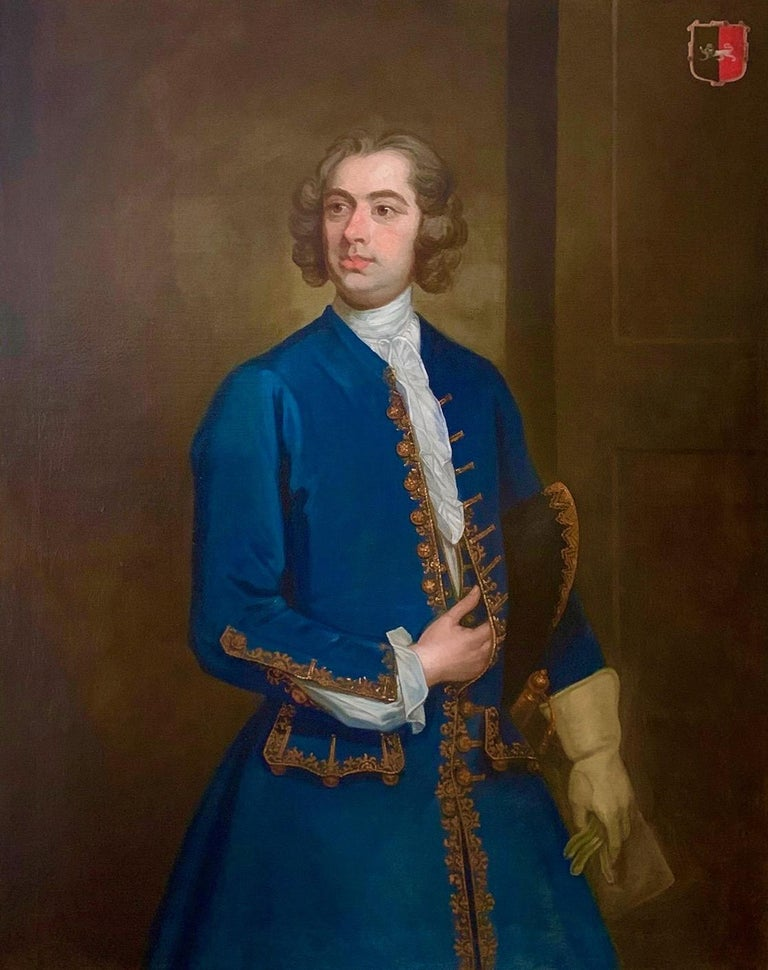 (Circle of) William Hogarth Interior Painting - 18th Century English Portrait of John Neale of Allesley Park in a Blue Coat
