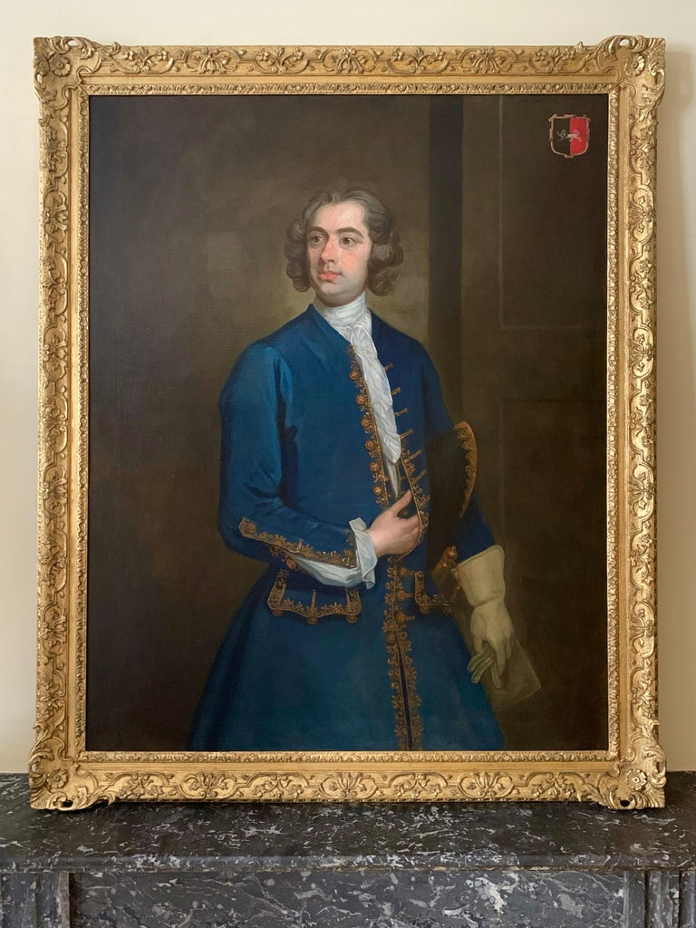 PORTRAIT OF JOHN NEALE OF ALLESLEY PARK c.1730 - CIRCLE OF WILLIAM HOGARTH.   This elegant portrait captures the likeness of John Neale (1687-1746) of Allesley Park, Warwickshire, and Cherington Park, Gloucestershire. Descending from a family who