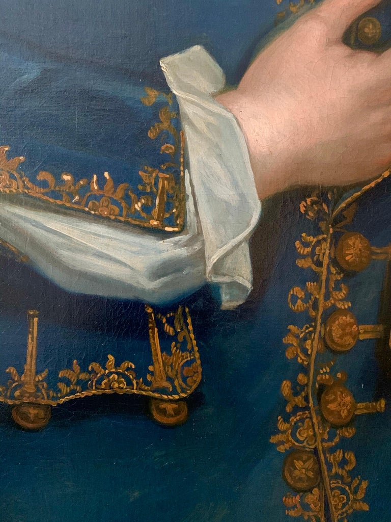 18th Century English Portrait of John Neale of Allesley Park in a Blue Coat For Sale 2