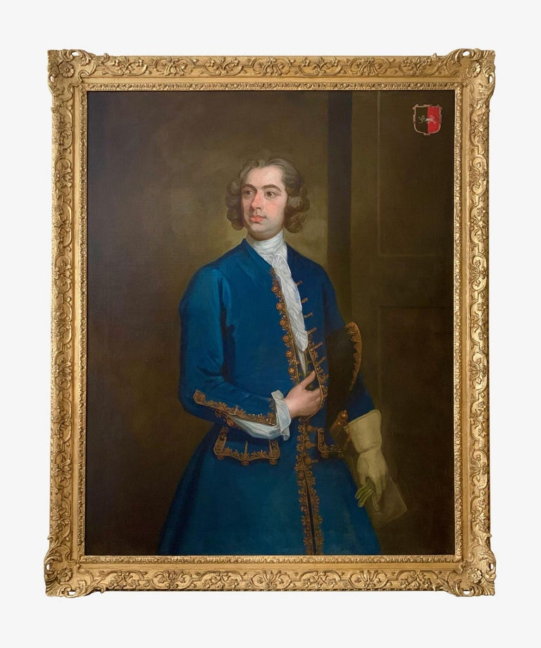 18th Century English Portrait of John Neale of Allesley Park in a Blue Coat - Painting by (Circle of) William Hogarth
