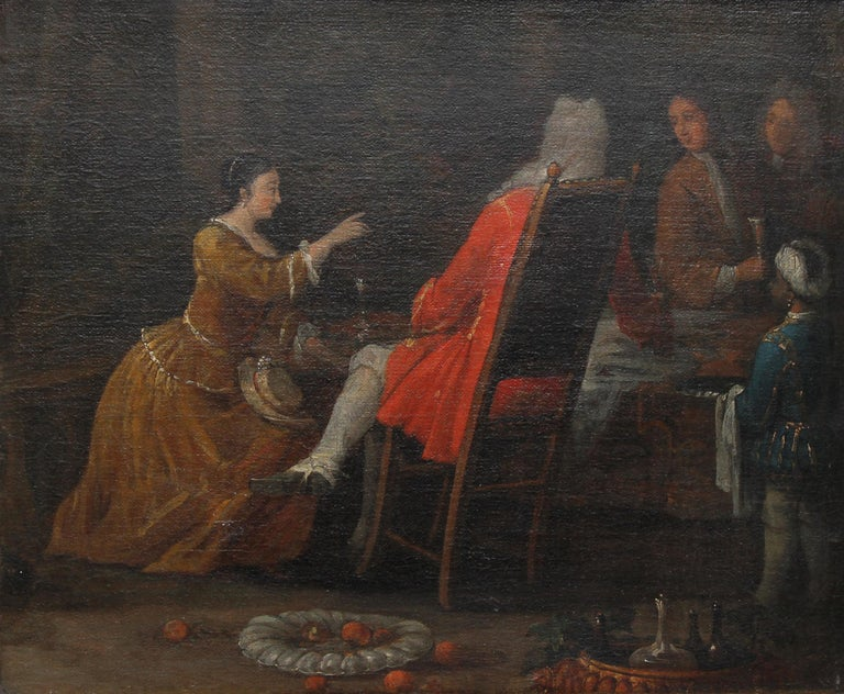 The Serving - British Old Master 18th century oil painting historical interior - Painting by (Circle of) William Hogarth