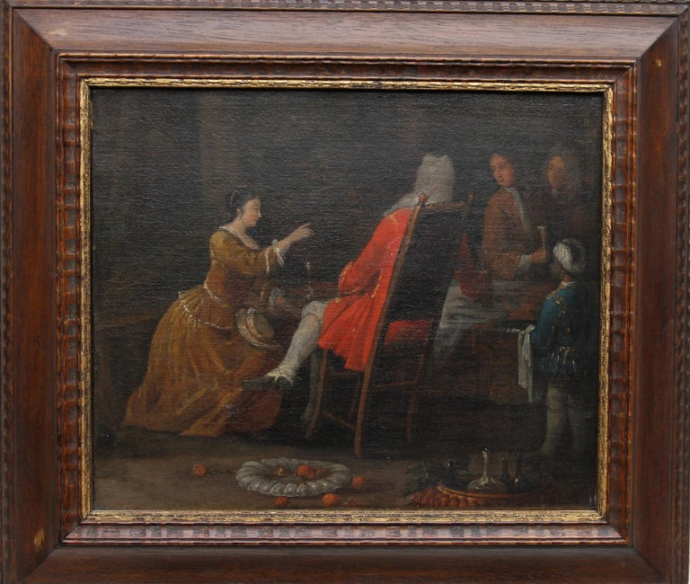 The Serving - British Old Master 18th century oil painting historical interior For Sale 4