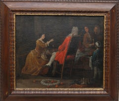 The Serving - British Old Master 18th century oil painting historical interior
